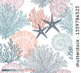 Marine vector hand drawn pattern with sea shells, stars, mollusk and coral. Perfect for textiles, wallpaper and prints.