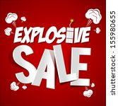 explosive sale on red... | Shutterstock .eps vector #155980655