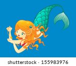 redhead mermaid with necklace | Shutterstock . vector #155983976