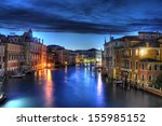 night canal in venice with... | Shutterstock . vector #155985152