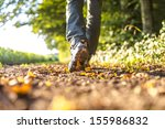 closeup of male legs hiking in... | Shutterstock . vector #155986832