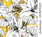 floral black and white pattern. ... | Shutterstock .eps vector #1559870225