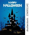 halloween background with... | Shutterstock .eps vector #156001142