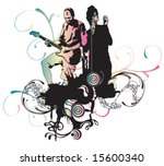 illustration of a singer and a... | Shutterstock .eps vector #15600340