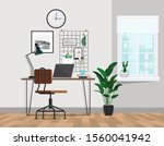 office workspace with city view ... | Shutterstock .eps vector #1560041942