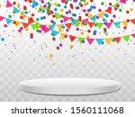 colorful confetti and balls... | Shutterstock .eps vector #1560111068