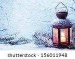 Christmas Lantern With Snowfall ...