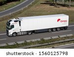 ENGELSKIRCHEN, GERMANY - SEPTEMBER 21, 2019: Girteka Volvo FH truck with temperature controlled trailer on motorway. - stock photo