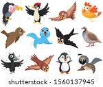 set of funny bird characters | Shutterstock .eps vector #1560137945