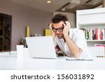 tired student or businessman... | Shutterstock . vector #156031892