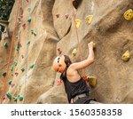 Back View  Sportwoman Climbing...