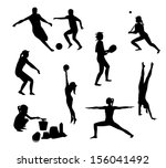 beach games silhouettes pack  | Shutterstock . vector #156041492