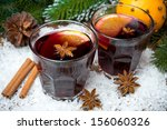 spicy mulled wine in glasses on ... | Shutterstock . vector #156060326