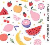 seamless summer fruits pattern...   Shutterstock .eps vector #1560748988