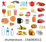set of food and drinks isolated ... | Shutterstock . vector #156083012