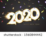happy new year 2020. sparkling... | Shutterstock .eps vector #1560844442