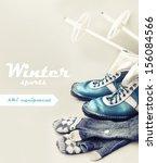 old ski equipment   ski shoes... | Shutterstock . vector #156084566