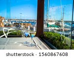 glasses of wine on a table in a ...   Shutterstock . vector #1560867608