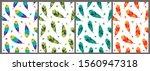 feather bird seamless pattern...   Shutterstock .eps vector #1560947318
