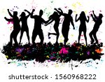dancing people silhouettes.... | Shutterstock . vector #1560968222