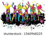 dancing people silhouettes.... | Shutterstock . vector #1560968225