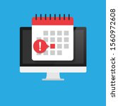 calendar icon on monitor screen.... | Shutterstock .eps vector #1560972608
