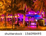 ocean drive scene at night... | Shutterstock . vector #156098495