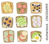 healthy breakfast toasts with... | Shutterstock .eps vector #1561026905