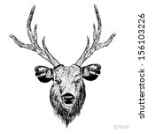 animal,antlers,background,beautiful,black,cartoon,deer,draw,drawing,dream,emblem,head,horned,horns,horny
