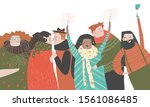 happy people celebrate an... | Shutterstock .eps vector #1561086485