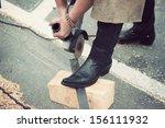 unrecognizable female... | Shutterstock . vector #156111932