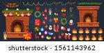 fireplace decor vector warm... | Shutterstock .eps vector #1561143962