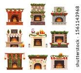 fireplace vector warm fire... | Shutterstock .eps vector #1561143968