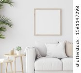 square wooden mock up with sofa ...   Shutterstock . vector #1561147298