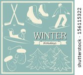 contour images of winter fun... | Shutterstock .eps vector #156115322
