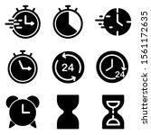 set of clock icon. symbol of...