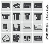 vector black  credit cart ... | Shutterstock .eps vector #156121622