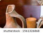Clay Jug. Old Ceramic Vase....