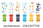 trash containers. organic  e... | Shutterstock .eps vector #1561347745
