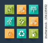 set of eco icons in flat design ...