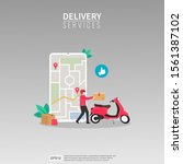 online fast delivery services...   Shutterstock .eps vector #1561387102