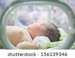 newborn baby in incubator care... | Shutterstock . vector #156139346