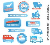 Set of delivery badges. Blue and red shipping signs collection. Labels illustration vector isolated on white background. Worldwide shipping, 24h, best in town, express, free, fast, best guaranteed. - stock vector