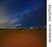 Night Scene In A Sand Desert