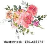Pink Red Peony Rose Eucalyptus...