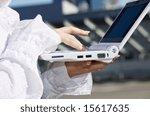 hand of businesswoman on laptop ... | Shutterstock . vector #15617635