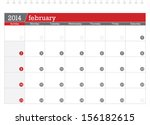 february 2014 planning calendar | Shutterstock .eps vector #156182615