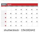 april 2014 planning calendar | Shutterstock .eps vector #156182642
