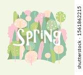 vector cartoon spring blossom... | Shutterstock .eps vector #1561862215