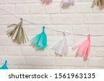 Multicolored Paper Garlands On...